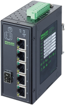 6 Port unmanaged Gigabit Switch 4 PoE 1 SFP Ports IP20 metal 48V