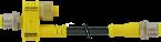 T-coupler M12male 4p/M12male+cable 2p+M12female 8p
